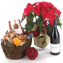 Poinsettia Plant, red wine and Basket with Sweets