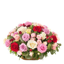 Funeral basket of roses in various colours